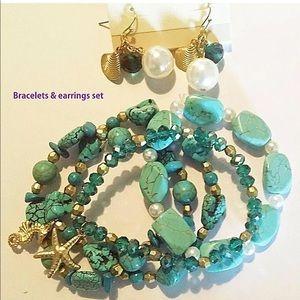 Sea Life Bracelet Earrings Set Bead Pearl Nautical